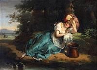 musicienne allongée by antoinette cécile hortense, mme haudebourt lescot