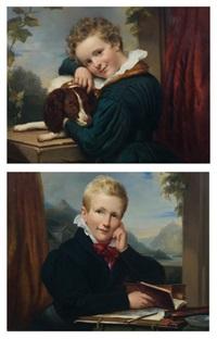 portrait de phoebus van verbeek avec son chien (+ portrait de henri van verbeek avec sa camera obscura; pair) by jan adam janszoon kruseman