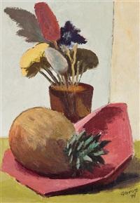 stilleben mit topfpflanze und ananas by theo garvé