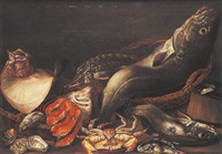 nature morte de poissons et crustacés avec crabe et esturgeons by isaac van duynen