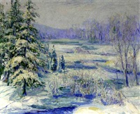 winter landscape, wilton, connecticut by thomas herbert smith