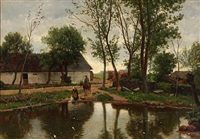 a washerwoman and a gentleman on horseback at a lake in front of a farm by august fischer