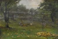 alberi e prati d'autunno by lorenzo delleani