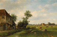 a sunny landscape with cattle near a farm by willem vester