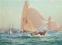 yacht race, sydney harbour by john allcott