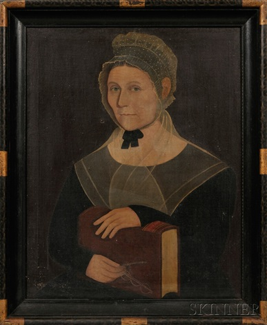 portrait of mary ingraham holding her spectacles and a bible by ammi phillips