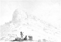 two sepoys standing beneath a hill-fort by alexander (sir) allan