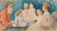 zar nikolai ii und zarin alexandra fjordorovna mit ihren töchtern olga, tatiana, maria und anastasia by elena petrovna samokish-sudkovskaya