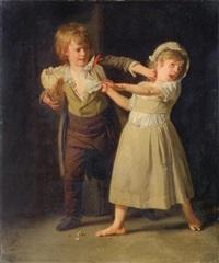 deux enfants se disputant un morceau de pain by henri-pierre danloux