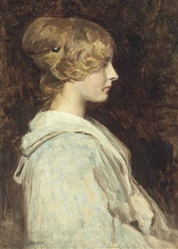 portrait of a lady, half-length, in profile by simon glücklich