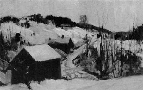 winter snow scene by charles curtis allen