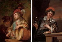 drummer boy (+ a gentleman drinking from a roemer and eating bread; pair) by ary de vois