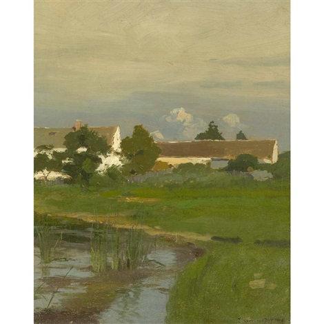 landscape with a white house behind trees by john francis murphy