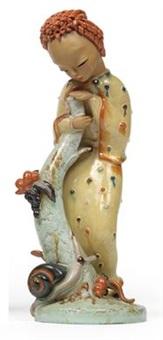 stehendes mädchen mit baumstamm und schnecke by kurt goebel