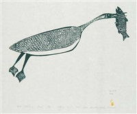 bird catching fish by luke iksiktaaryuk