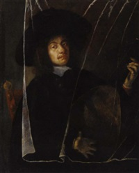 a man playing a lute behind a trompe l'oeil curtain by barent fabritius