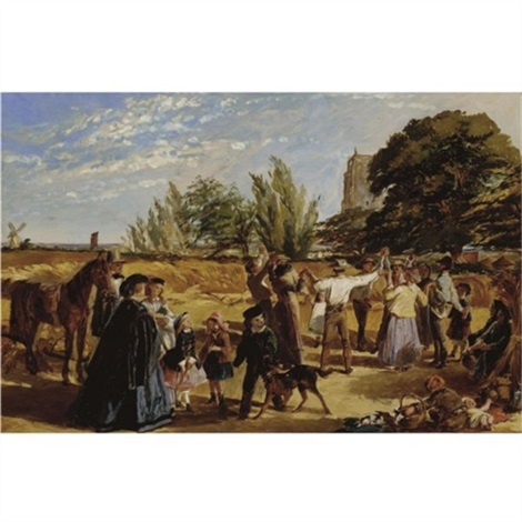 sketch for hullo largess a harvest scene in norfolk by william maw egley