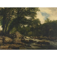 scene on the ogwen river, n. wales by frederick richard lee