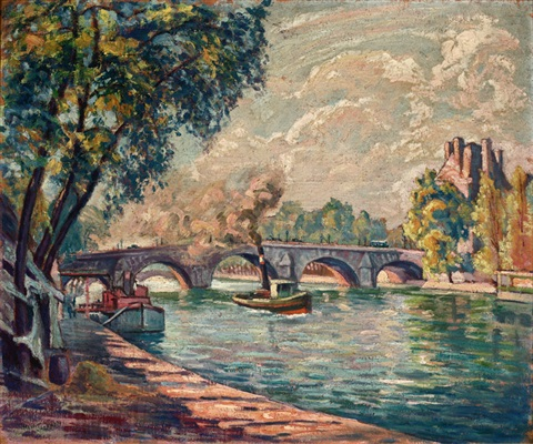 pont royal paris canal scene with tugboat by reva jackman