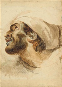 head of a bearded man in profile by théodore géricault
