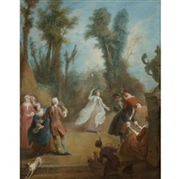 elegant figures playing shuttlecock in a park by pierre-antoine quillard