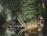 a sunny afternoon on the riverside by ernest louis pichio