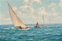 summer skies: six metres rounding the east lepe buoy in the solent by montague dawson