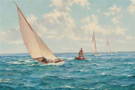summer skies six metres rounding the east lepe buoy in the solent by montague dawson