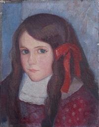 fillette au ruban rouge by angel zárraga
