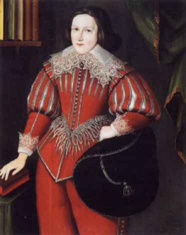 portrait of a boy wearing a red doublet with white collar and holding a black hat, his hand resting on a book by gilbert jackson