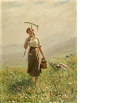 a young woman in the meadow by hans dahl