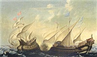 a naval battle scene between an ottoman man-of-war and a galley by hendrik cornelisz vroom