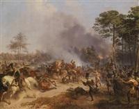 gefecht österreichischer infanterie truppen (hilfscorps im dienste napoleons) gegen russische artellerie und dragoner 1812 by friedrich (fritz) l' allemand