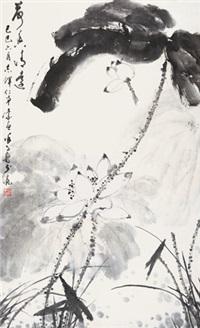 荷花 立轴 水墨纸本 by xu zihe