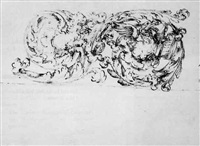 foliated scroll design for a frieze; sketch of a leopard by mauro antonio (maurino) tesi