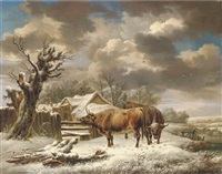 livestock in a winter landscape by charles towne