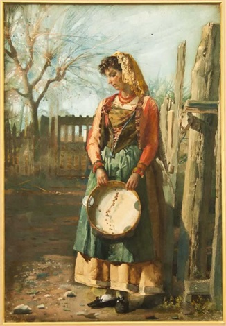 peasant lady with tambourine by josé tapiro y baro