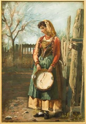 peasant lady with tambourine by josé tapiro y baro
