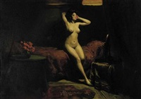 nude posing in a room by fritz fischer