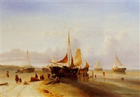 fisherfolk unloading the catch by maurits verveer