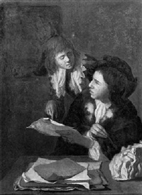 a young man seated at a table showing a letter to another  gentleman standing behind him by heyman dullaert