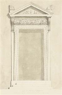 une porte avec une frise d'acanthes, deux tritons flanquant des armes surmonté d'acrothères sur le fronton by mauro antonio (maurino) tesi