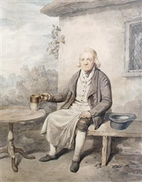 gentleman seated outside a cottage holding a tankard by william henry pyne