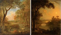 an italianate river landscape with an angler at sunset (+ a wooded landscape with a shepherd and his flock by a stream; 2 works) by abraham pether