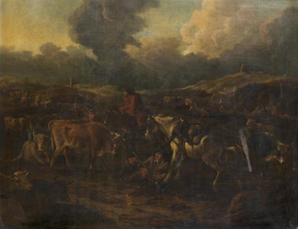 berger et leur troupeau dans un paysage by dirk van bergen