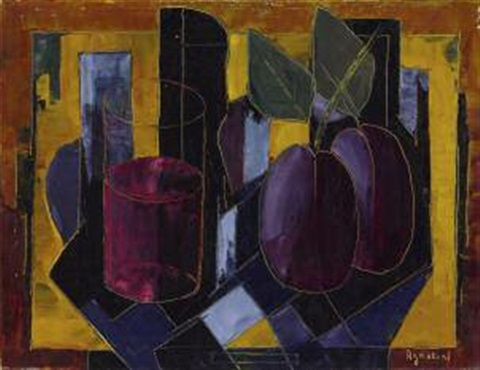 nature morte au verre et fruits by tony agostini