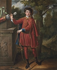 portrait of a hunstman, full-length, in a red and gold embroidered cloak in a wooded landscape by peter corner
