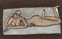 reclining nude by jogen chowdhury
