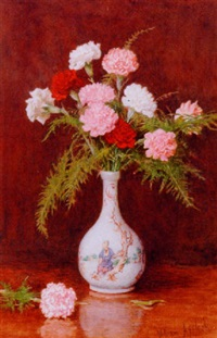 still life of carnations in an oriental vase by william affleck