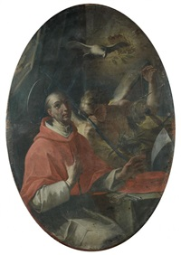 saint grégoire le grand, saint hugues d'avalon, saint anthelme et un saint non identifié d'avalon, saint anthelme et un saint non identifié (set of 4) by domenico antonio vaccaro